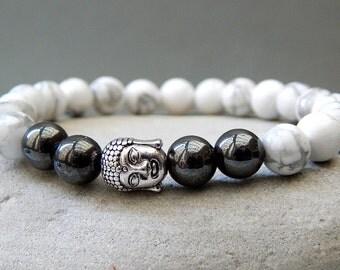 Men's Bracelet, Men's Buddha Bracelet, Yoga Bracelet, Howlite Hematite Bracelet, Men's Jewellery, Unisex, Gift Ideas