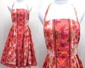 Vintage 1950's Dress Cotton Sundress Halter Top Coral Pink Blush Floral Rick Rack