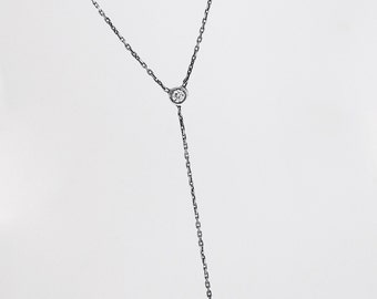 Sterling Silver Diamond Drop Necklace