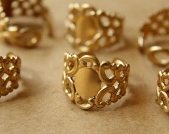 2 pc. Raw Brass Adjustable Filigree Rings   RB-558