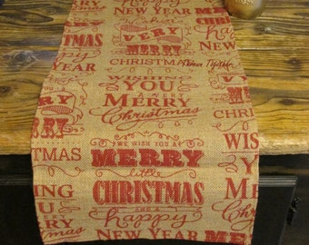 Christmas Table Runner, 62in Burlap Runner, Primitive Christmas Decor, Merry Christmas Burlap, Primitive Table Runner, Burlap Christmas