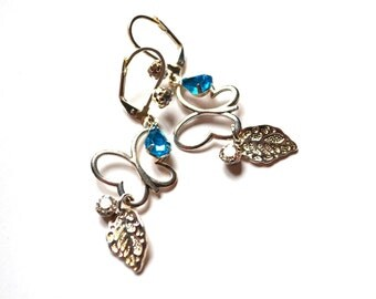 Sky Blue Crystal Earrings. Butterfly Silver Earrings. Dangle Long Earrings. Handmade Earrings. Handcrafted Jewelry. Everyday jewelry