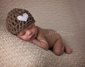 Crochet Heart Beanie, Newborn Hat, Baby Photography Prop