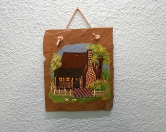 OOAK slate painting, Log cabin painting, folk art, Slate painting, Wall decor, Primative painting, Rustic decor, Home decor
