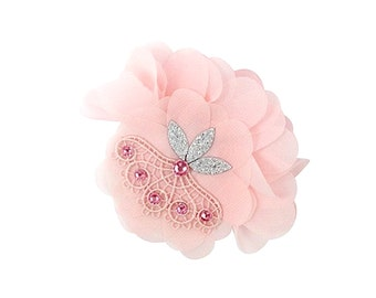 Vintage Lace Hair Clip, Chiffon Hair Clip, Pastel Pink Hair Clip, Stylish Hair Clip, Baby Girl Accessories, Baby Hair Clip, Photo Prop, Baby