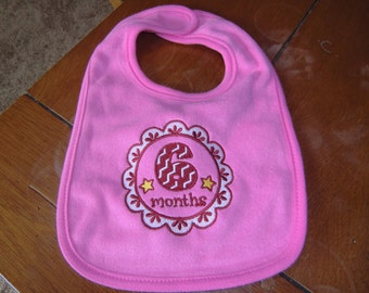 Embroidered Baby Bib - 6 Month Medallion Bib - Girl