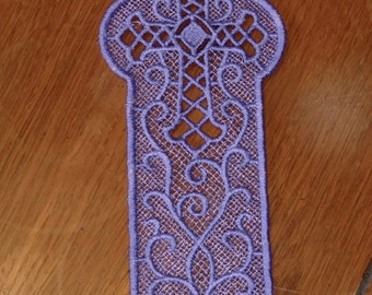 Embroidered Bookmark  -  Cross - Purple