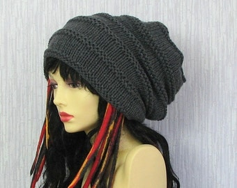 Hat for dreads Dreadlock Accessories Hand Knitted Tam Oversized Slouch,  slouchy tam , Men's Hat