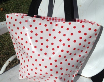 """15.5"""" x 12"""" Medium Zippered Oilcloth Tote Red Polka / Red Gingham Oil Cloth Beach Pool Grocery Travel Made In USA"""