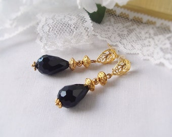 Black Onyx and Gold Plated Earrings with Filigree Stud Posts