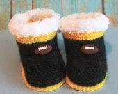 Knitted Baby Booties/Slippers, Football team  Iowa Hawkeyes, with Football button,  0-9 Month,  Handmade, GO HAWKS