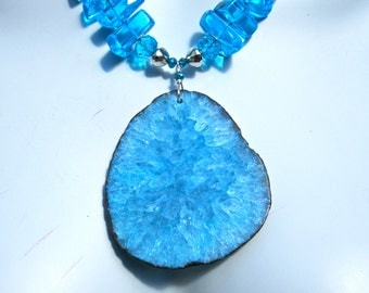 Druzy Statement Necklace, HUGE Druzy Geode Slice Pendant, Aqua Stone, Chunky Crystal Shards, Sparkly, Boho Necklace 963