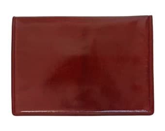 BOTTEGA VENETA Large 1970s Vintage Clutch Handbag Shoulderbag Evening Bag Burgundy Red Leather Envelope Bag