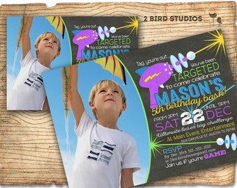 Laser tag birthday invitation - Laser tag invitations for laser tag party - Boys birthday party invitation - Chalkboard invite - You print
