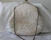 Beaded ivory bridal bag,beaded wedding bag,ivory bridal bag,beaded vintage wedding bag,bridal accessories