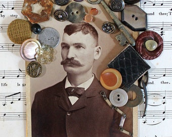 Antique Masculine Cabinet Card with Vintage Buttons and Findings*Vintage Mustache Man Inspiration Kit*Altered Art Supply