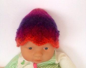 Hippie rainbow multi Ooak unique designer baby girls hand knit,crocheted beanie cap,newborn to 3 months,flower photo purple fairy.