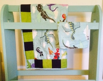hand made baby quilt and burpcloth, dragons, purple, green, seafoam
