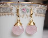 Rose Quartz Earrings , Gold Pink Earrings , Rose Quartz Jewelry , Light Pink Earrings