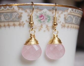 Rose Quartz Earrings , Gold Pink Earrings , Rose Quartz Jewelry , Light Pink Earrings