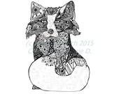 Black and White Art Poster, Fox Art, Wolf Poster, Art Print, Pen and Ink Art, Black and White Fox, 11 x 14 Poster Print