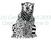 Black and White Art Pen and Ink Animals Polar Bear Drawing 8 x 10 Print Wall Art Design Drawing
