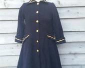 Womens Navy Swing Pea Coat 3/4 Sleeve Size XS Small