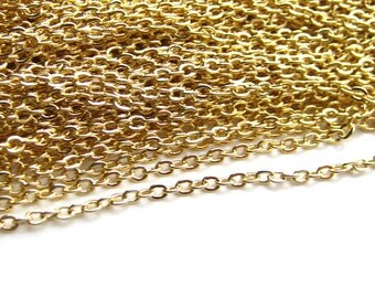 Gold Chain, 16K Gold Plated flat oval chain, Gold Chain, 16K Gold Plated