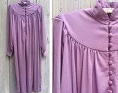 Isabella vintage dress | Joy Stevens lavender gray Edwardian Revival high neck gown
