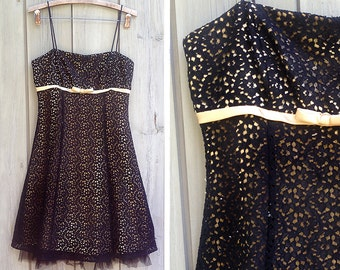 Vintage dress | 1990s Betsy & Adam black and gold net dress by Linda Bernell