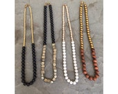 Two Tone Beaded Necklace - Howlite, Sandstone, Pyrite, Gold, Brass