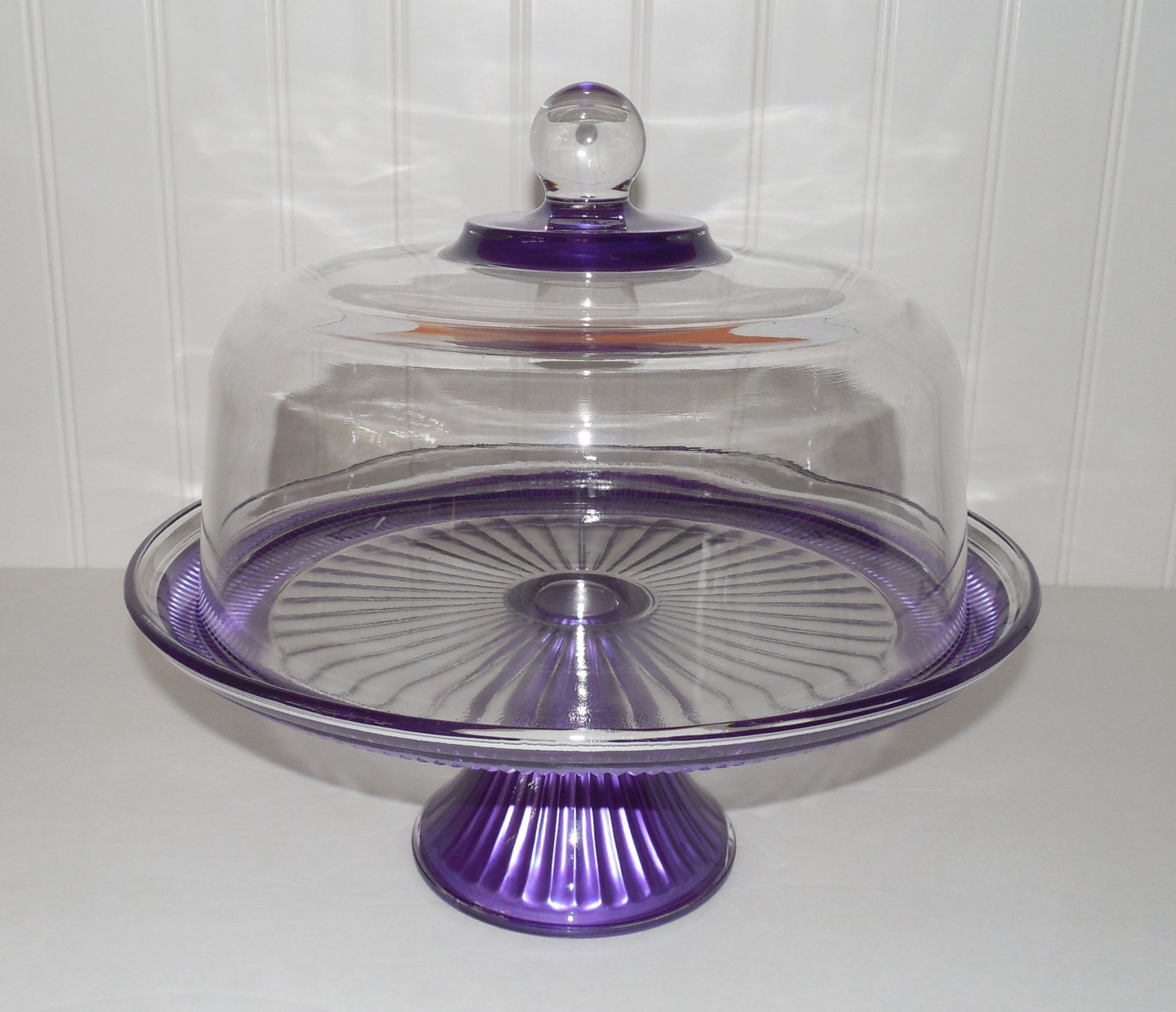 Cake stand and dome purple cake stand glass pasty dome for Colored glass cake stand