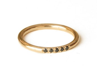 Delicate Stacking Ring, Thin Gold filled Band, Alternative engagement ring, Half eternity band, Promise ring, Gold and black Diamonds ring