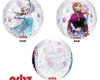 "16"" Clear Frozen Princess Round Balloon, DIY, self seal, kids party, elsa & anns, beach ball shape, winter"