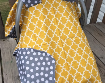 Yellow/grey carseat cover  canopy