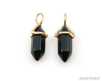 Black Onyx Stone Pendant in Gold / 6mm x 20mm / SBOG078-P (2pcs)