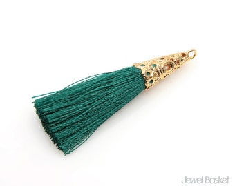 2pcs - Turquoise Thread Tassel with Gold Cap - Cone Cap Tassels / green / 16k gold plated / cone cap / cotton / 11mm x 43mm / ETQG005-T
