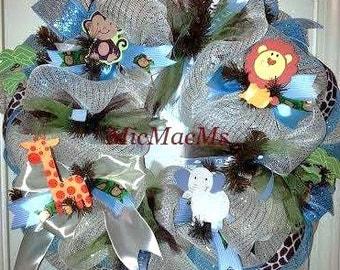 Baby Safari wreath, jungle wreath, baby boy wreath, baby boy nursery wreath
