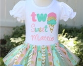 Personalized Ice Cream Cone Gold, Mint and Light Pink Ice Cream Cone First or Second Birthday Fabric Tutu Outfit