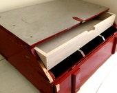OOAK Vintage Handmade Coffee Table Farm Storage Trunk Casters Wood Stainless Steel