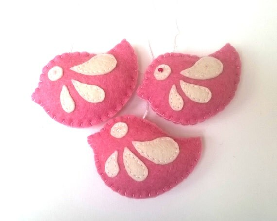 Pink felt bird ornaments