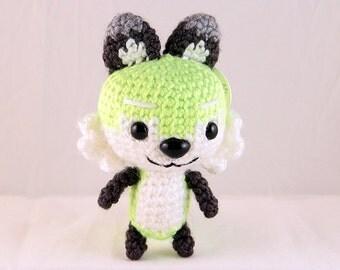Fluorescent Green Amigurumi Fox Plush (ready-to-ship; WYSIWYG)