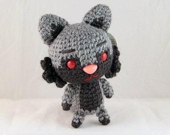 Black & Grey Amigurumi Fox Plush (ready-to-ship; WYSIWYG)