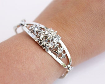 Vintage Silver Rhinestone Bracelet, Designer Signed Coro, Costume Jewelry,