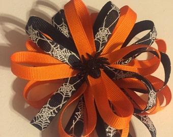 Orange & Black Spider Hair Bow