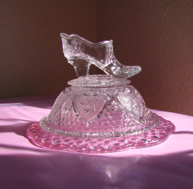 Cinderella fenton glass slipper with pillow