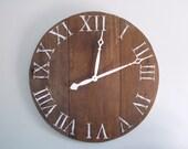 "31.5"" Dark Barn Wood Wide Plank Clock Made Of Ohio Barn Wood with White Hands - All Barn Wood Clocks Marked 10% OFF!"