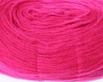 Wool  Thin Pre-yarn/ Pencil Roving  Dark Pink, skein 108  g.