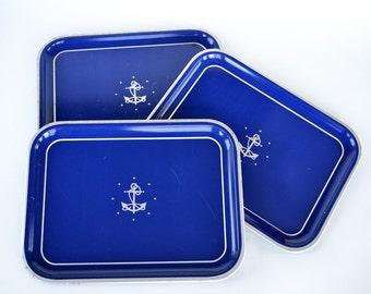 Nautical Blue Metal Trays/ Anchor and Stars/ Tin Tray/ Nautical Theme/ Set of Three Trays