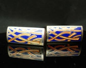 Beautiful abstract Cufflinks  Blue Enamel Pop Art modernist fire interpretation Cuff Links Kaflinks silver Sleeve Accessory estate jewelry